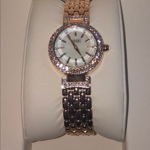 Badgley Mischka rose stainless crystal watch